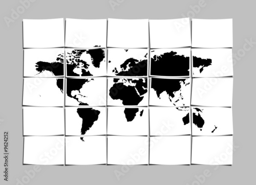 World Map Concept of Separated Note Papers Abstract Background