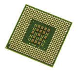 a green and gold computer processor chip poster