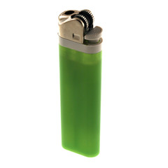 a green disposable lighter isolated on a white background