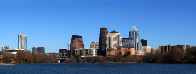 The downtown austin texas skyline on a clear sunny day.