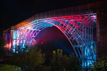 Abraham Derby's historic Ironbridge lit up at night