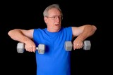 Senior citizen fitness training by lifting weights poster