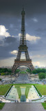 Eiffel tower over stormy clouds. HDR image. poster