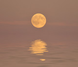 abstract full moon and water reflection poster