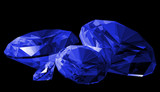 A 3d illustration of a sapphire gem isolated poster