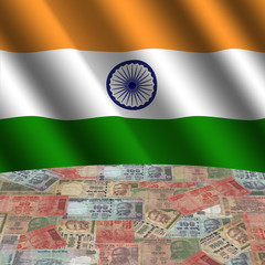 rippled flag with Indian Rupees globe illustration