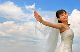 bride on the cloudy sky background