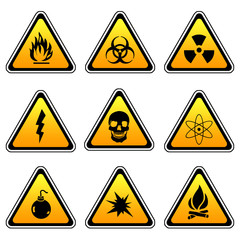 Warning Sign Compilation Set - Various Symbols On Triangle Sign