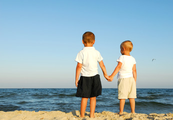 two caucasian boys holding hands and watching the sea