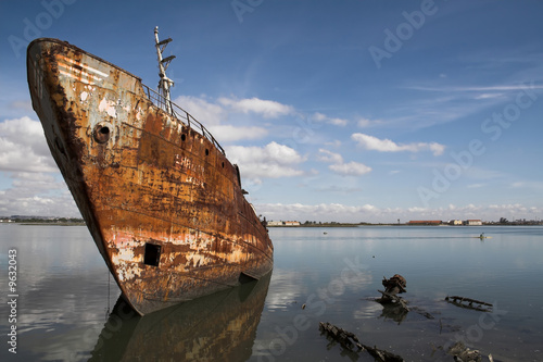 Old fishing ship in a shipyard
