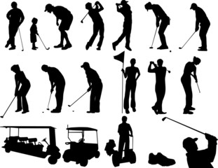 Golf players silhouettes