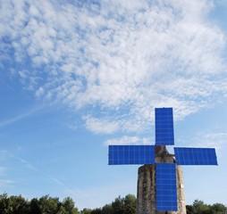 Moulin et panneaux solaire