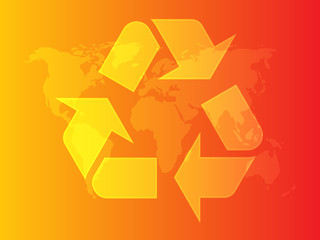 Recycling eco symbol illustration of three pointing