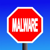 stop Malware sign on blue sky illustration