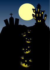 zucche di halloween, paesaggio lunare, castello