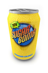 Sugar loaded soda drink in a can with made up label