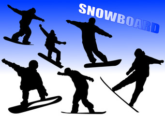 group of snowboarders in action vector illustration
