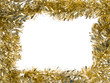 Gold Christmas tinsel garland, forming a rectangular frame