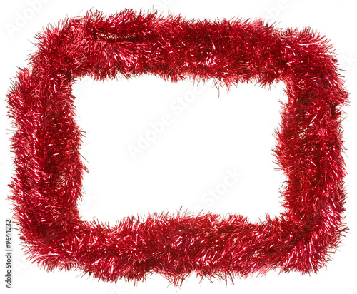Red Christmas tinsel garland, forming a rectangular frame