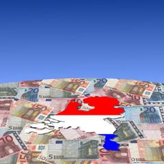Netherlands map flag on euros globe illustration