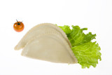Asian meat dumplings with greenery and tomatoes poster