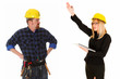 businesswoman and construction worker