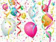 Ballons, serpentins et confettis sur fond blanc