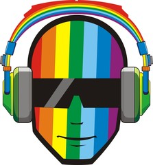 Man in headphones in rainbow colours