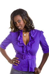 A beautiful young black woman in a purple blouse