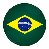 Abstract illustration: button with flag from Brazil country. poster