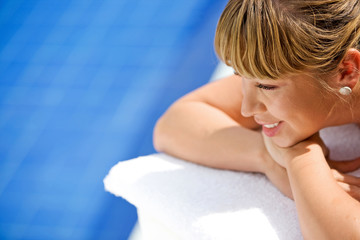 beauty and spa healthy lifestyle portrait of a girl relaxing