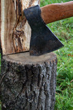 Close-up of axe in log with half of firewood poster