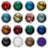 collection of twelve buttons with bubble fluid fills poster