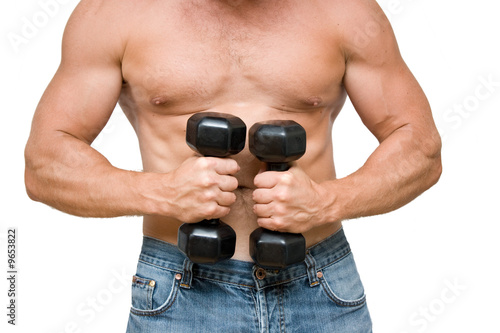 young man with black dumbbells