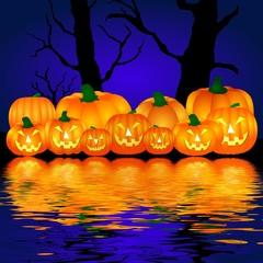 halloween kürbisse am wasser