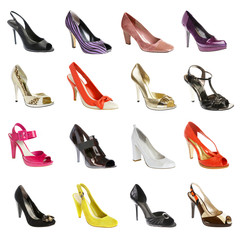 female footwear on a white background. 16 pieces.