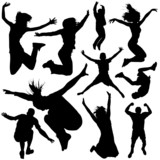 Fototapety people jumping vector