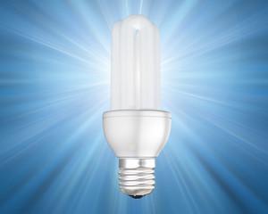 Illustration of an illuminated energy saving light bulb