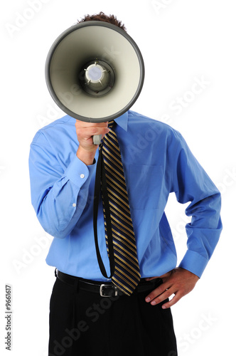 Businessman using megaphone isplated over a white background