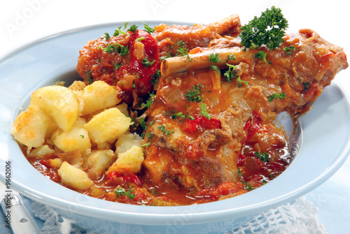 Lamb shanks, slow-cooked