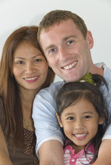 young interracial family with child