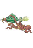 Green submarine captured by giant octopus
