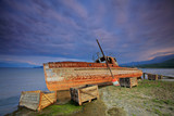 Abandoned boat at Prespa lake, Macedonia poster