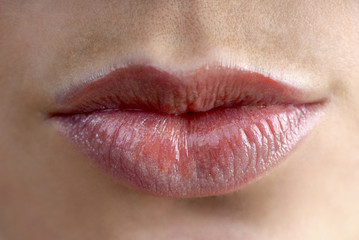 Female sensual lips, close up