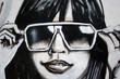 Quadro graffiti moda. chica con gafas de sol