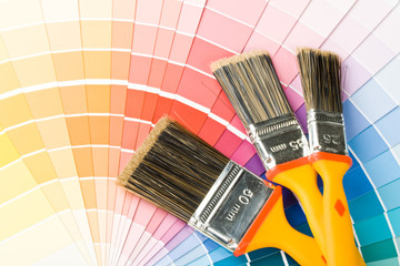 Brushes on a background from colour guide