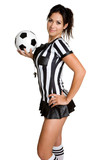 Fototapety Female Referee With Ball