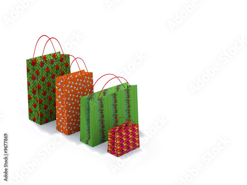 christmas shopping bags on white background