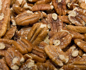 A bunch of hot fresh salty pecans