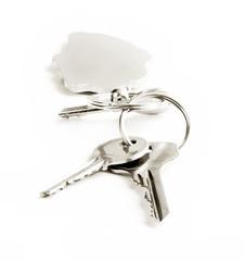 Keys close-up isolated on white background